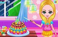 La jeune fille à son gâteau