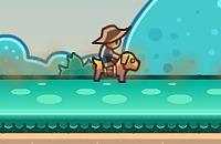 Cowboy op een Hond