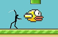 Spider Stickman in Flappy Bird World